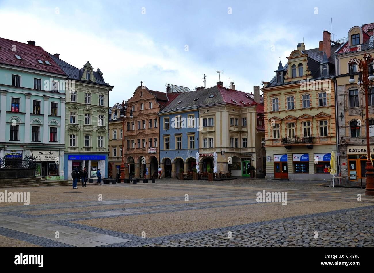 In the town of Liberec (Reichenberg) in the Czech Republic: Around the Main Square - Stock Image