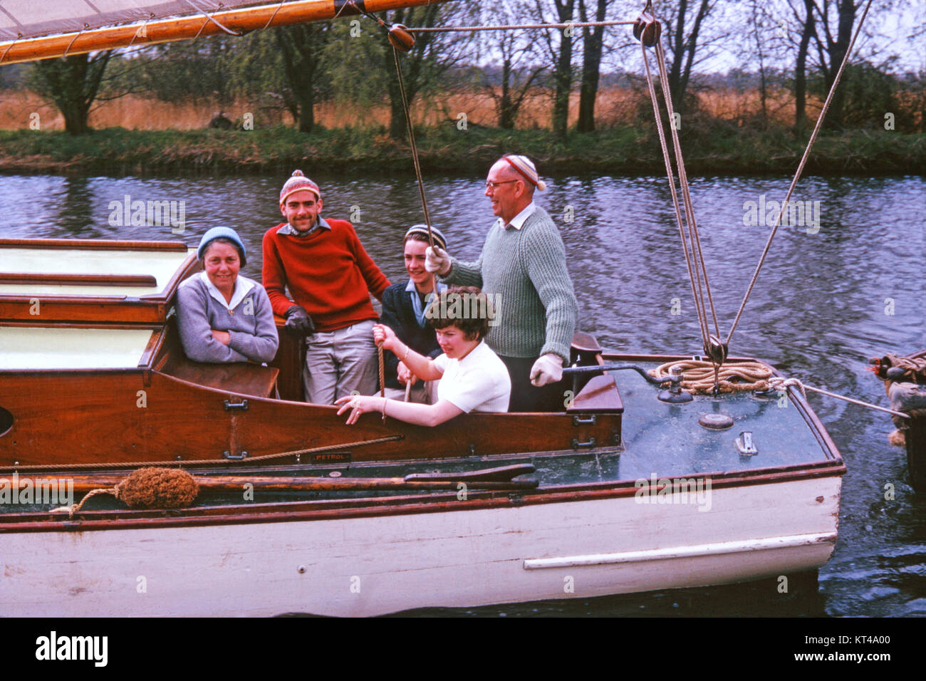 Group sailing on Norfolk Broads, 1963 Stock Photo