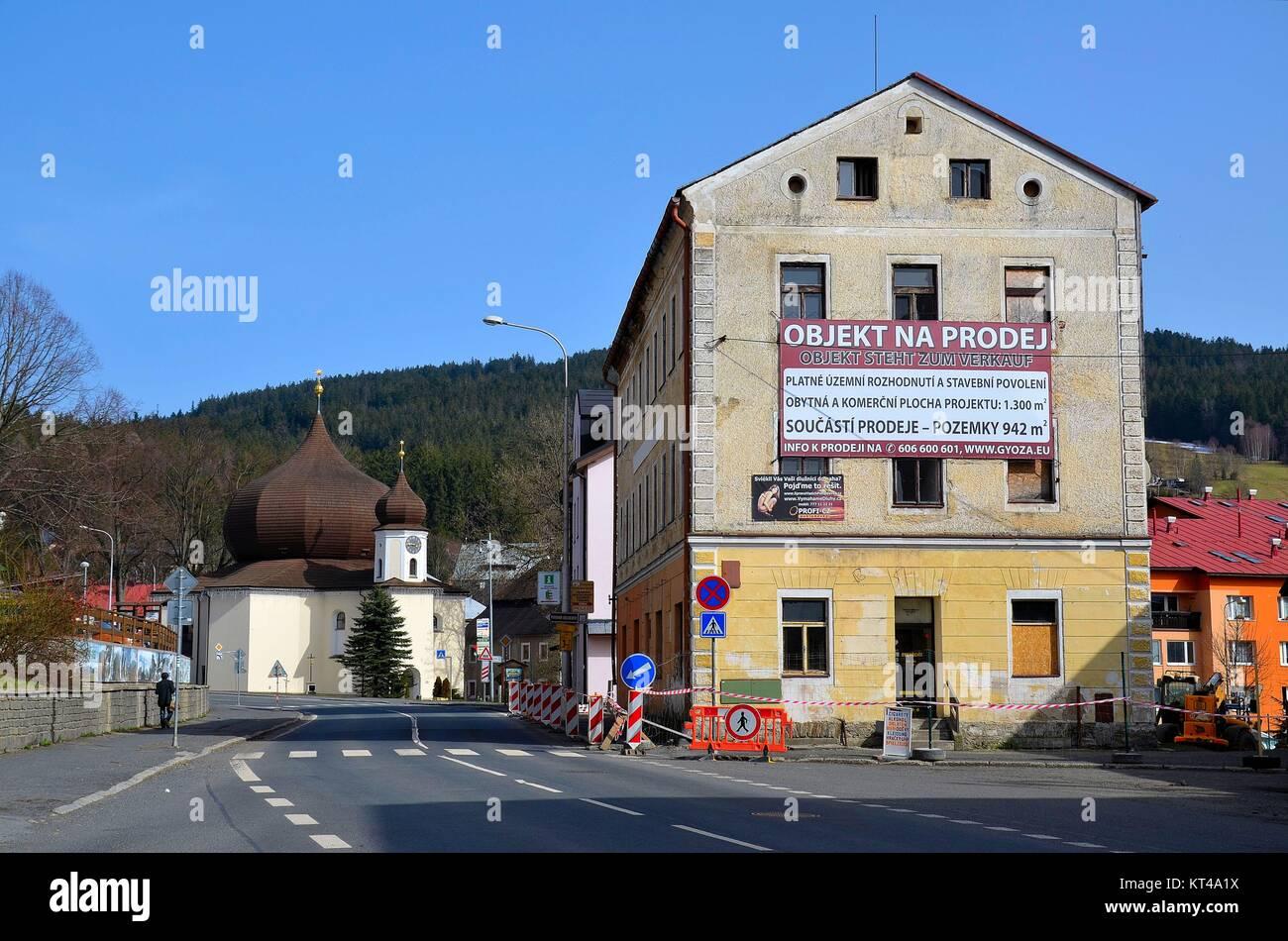 The village of Železná Ruda (Markt Eisenstein), Czech Republic, at the border to Bavaria - Stock Image