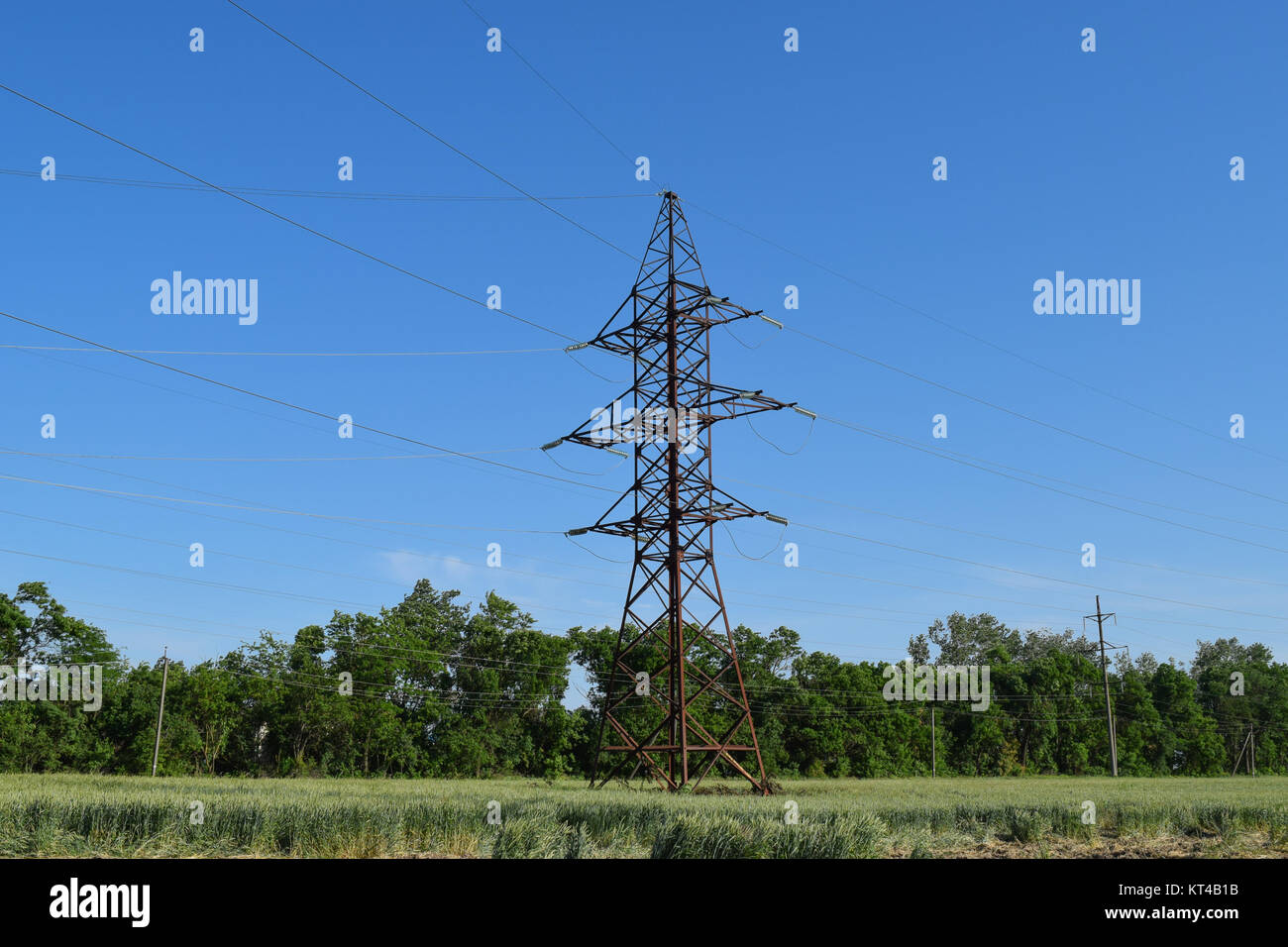 Construction of a high-voltage power line. - Stock Image