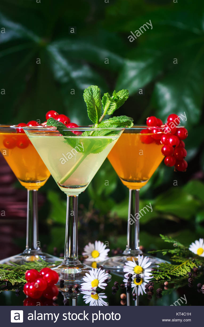 Still life of three festive cocktails in a garden setting. Stock Photo