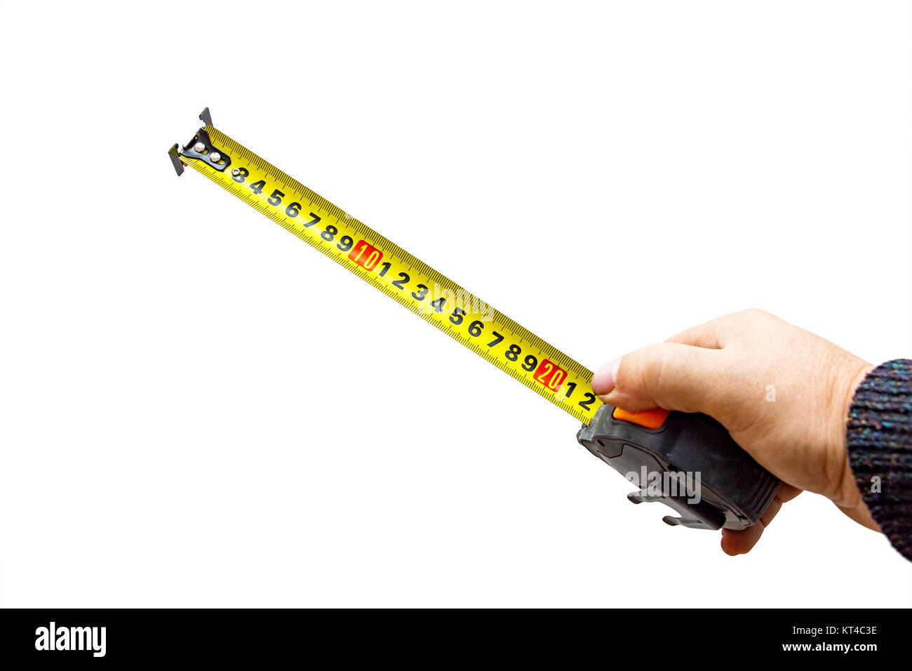 Hand with a tape measure on white - Stock Image