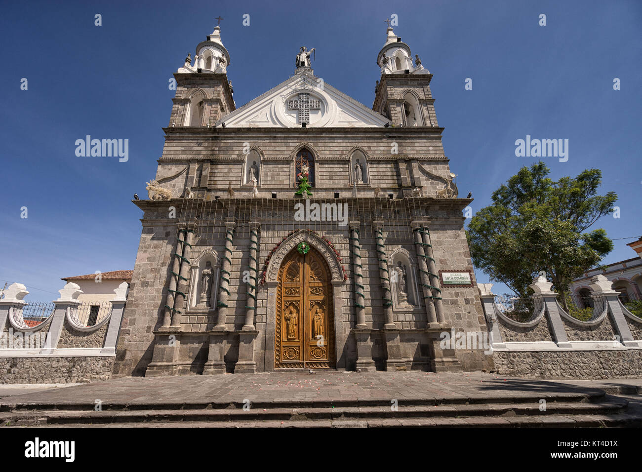 the Santo Domingo church in Ibarra historic center - Stock Image