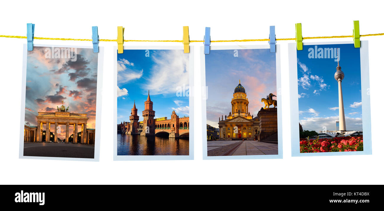 Collage with postcards of main Berlin landmarks on white background - Stock Image