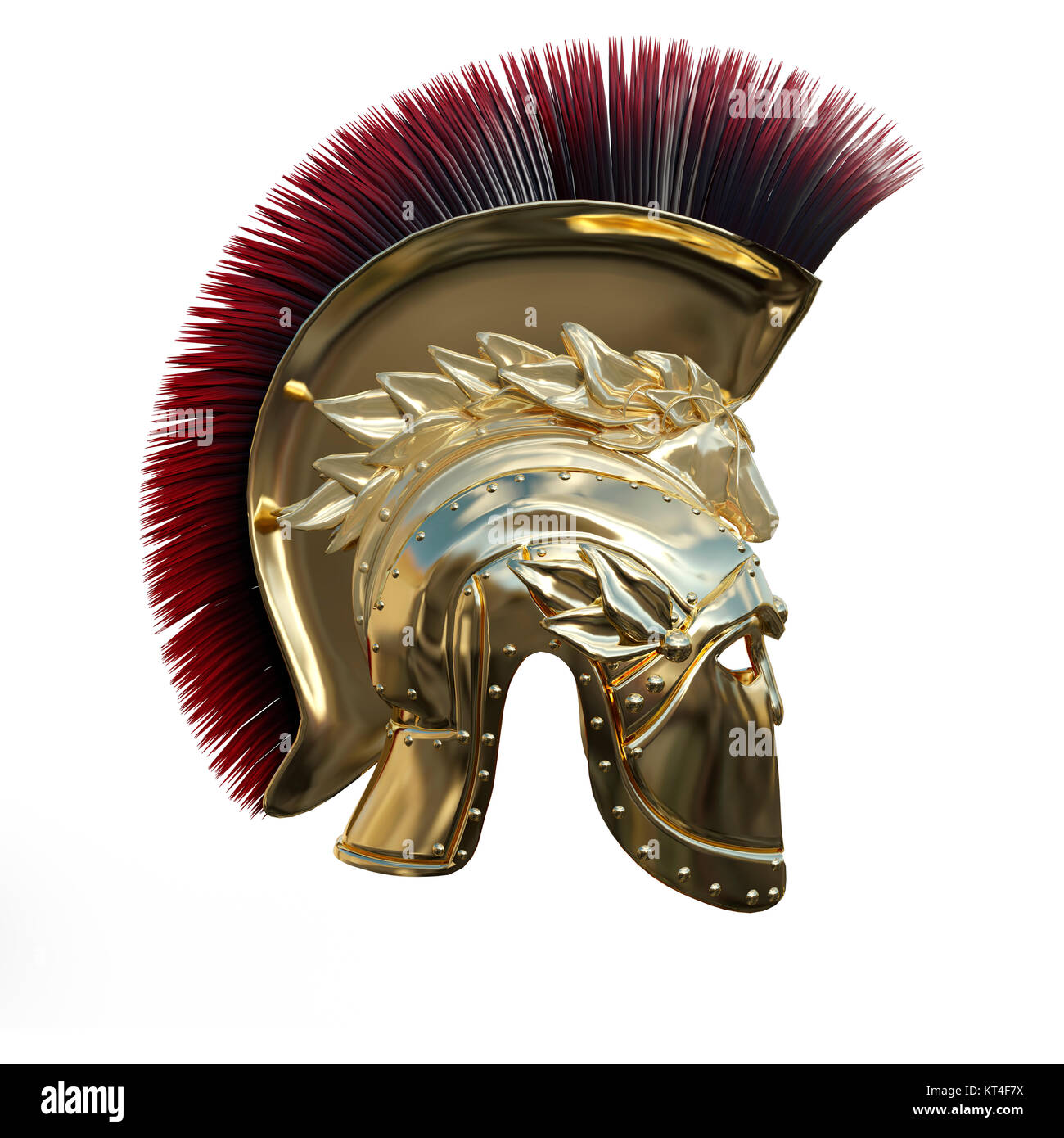 3D Rendering Ancient Greek Helmet on White - Stock Image