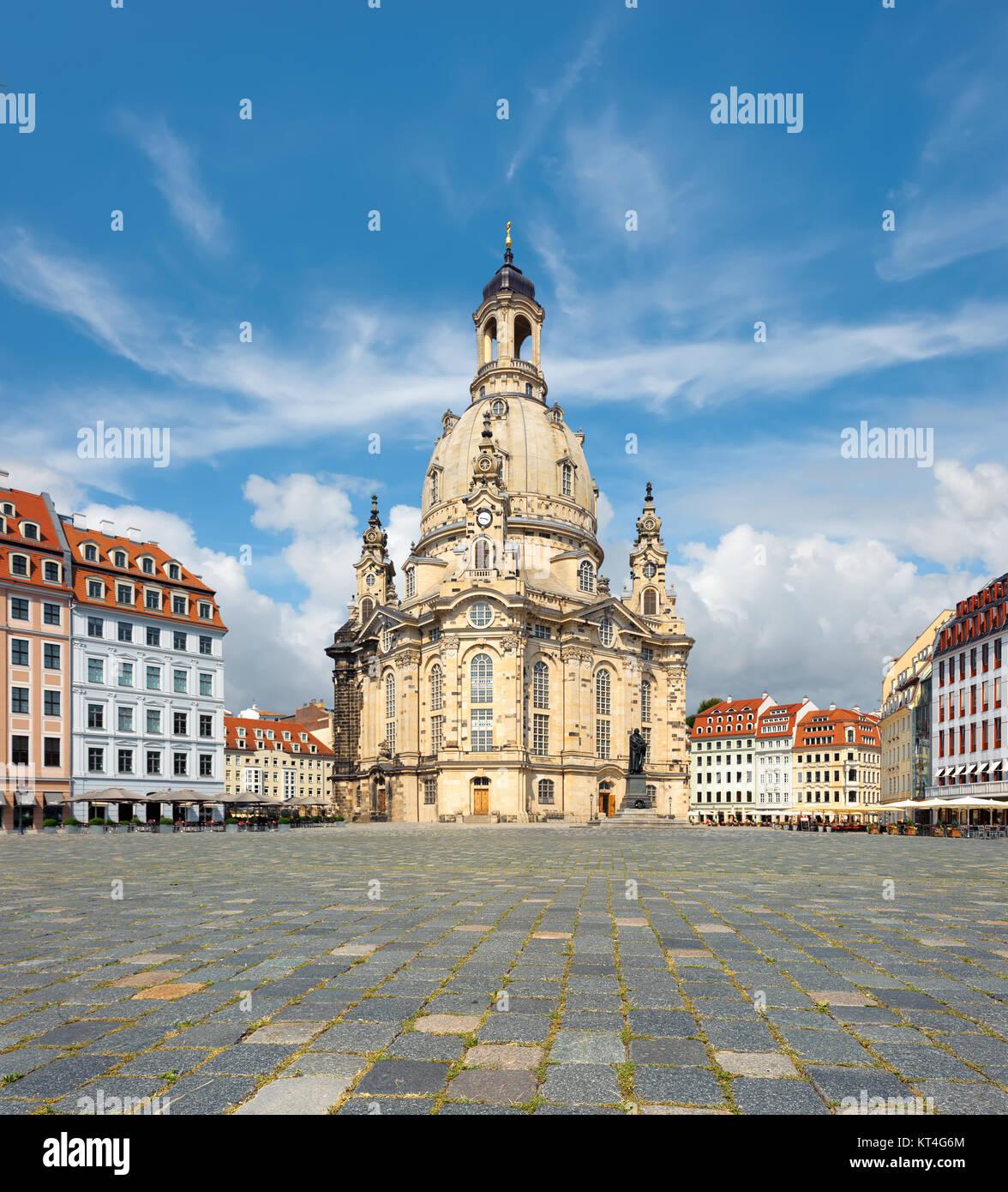 Frauenkirche in Dresden, Saxony, Germany, tilt-shift panoramic image Stock Photo