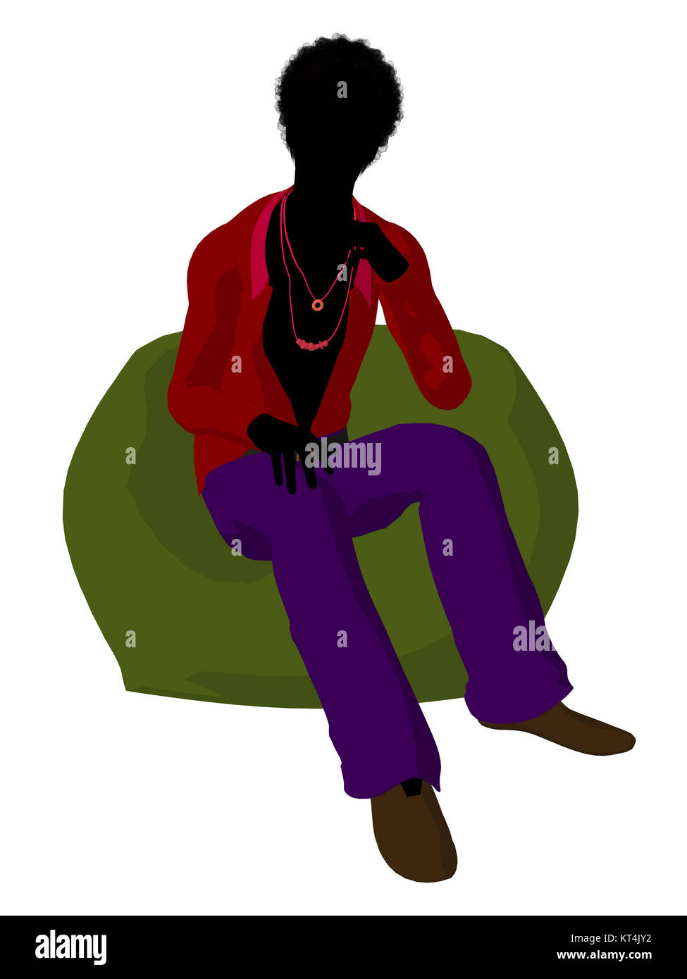 African american disco guy sitting on a bean bag on a white background - Stock Image
