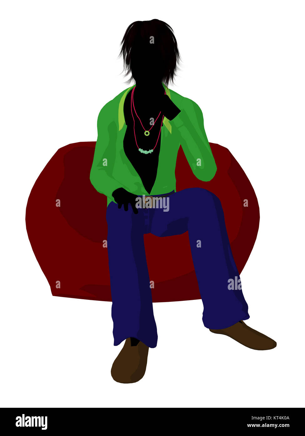 Disco guy sitting on a bean bag on a white background - Stock Image