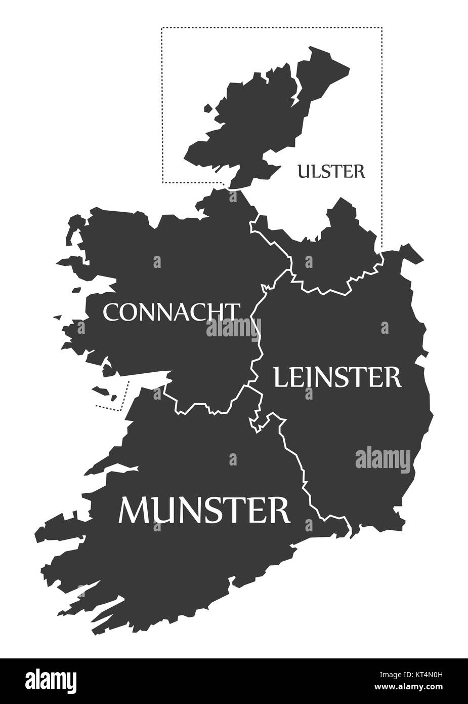 Ireland Map labelled black illustration Stock Photo