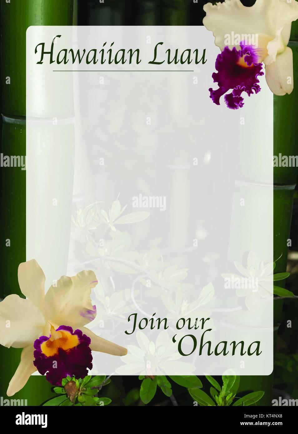 Hawaiian luau invitation illustrator template - Stock Image