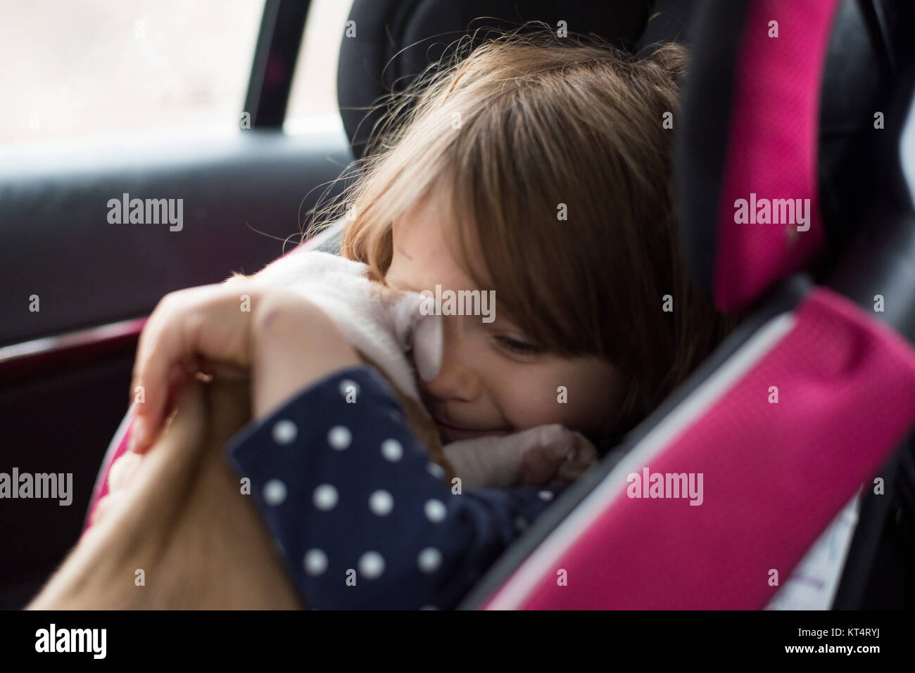 A toddler girl hugging a six week old puppy while sitting in a car seat. - Stock Image