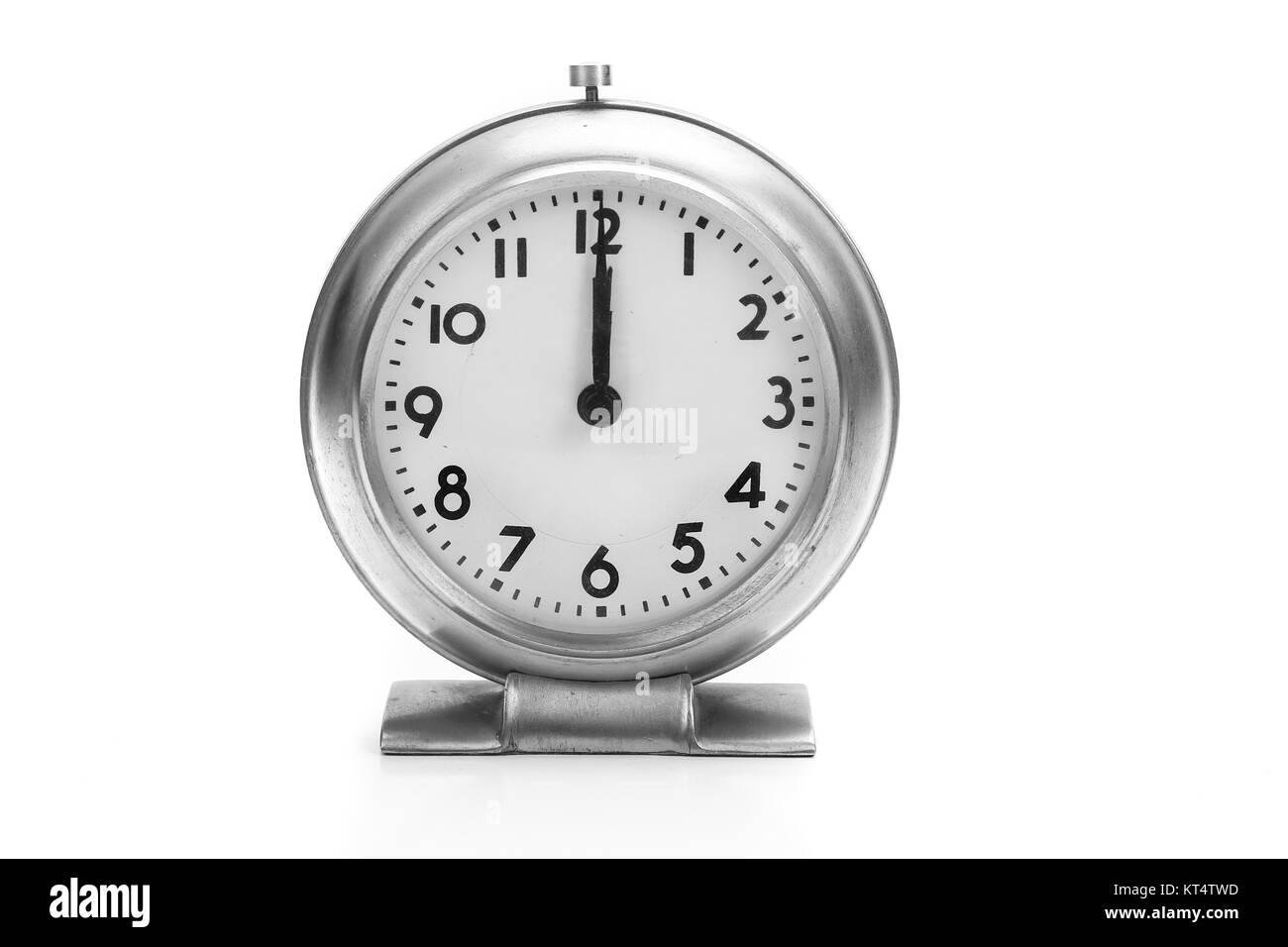 Vintage Analog Clock With Hands Set At 1200 Antique Alarm Clock