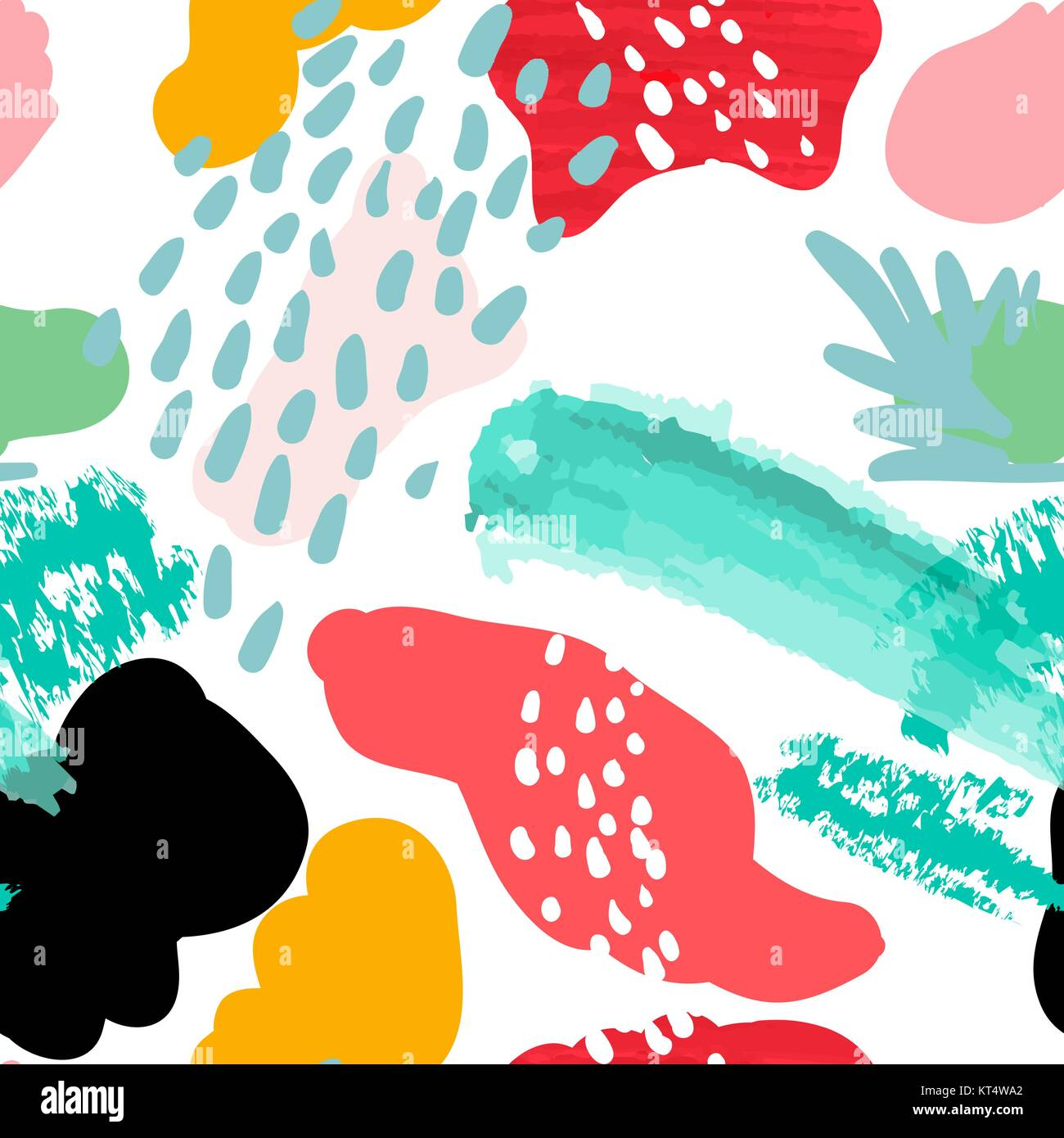 Vector stylized seamless pattern background hand-drawn illustration. Simple shape, bright pattern. Naive art style. - Stock Vector