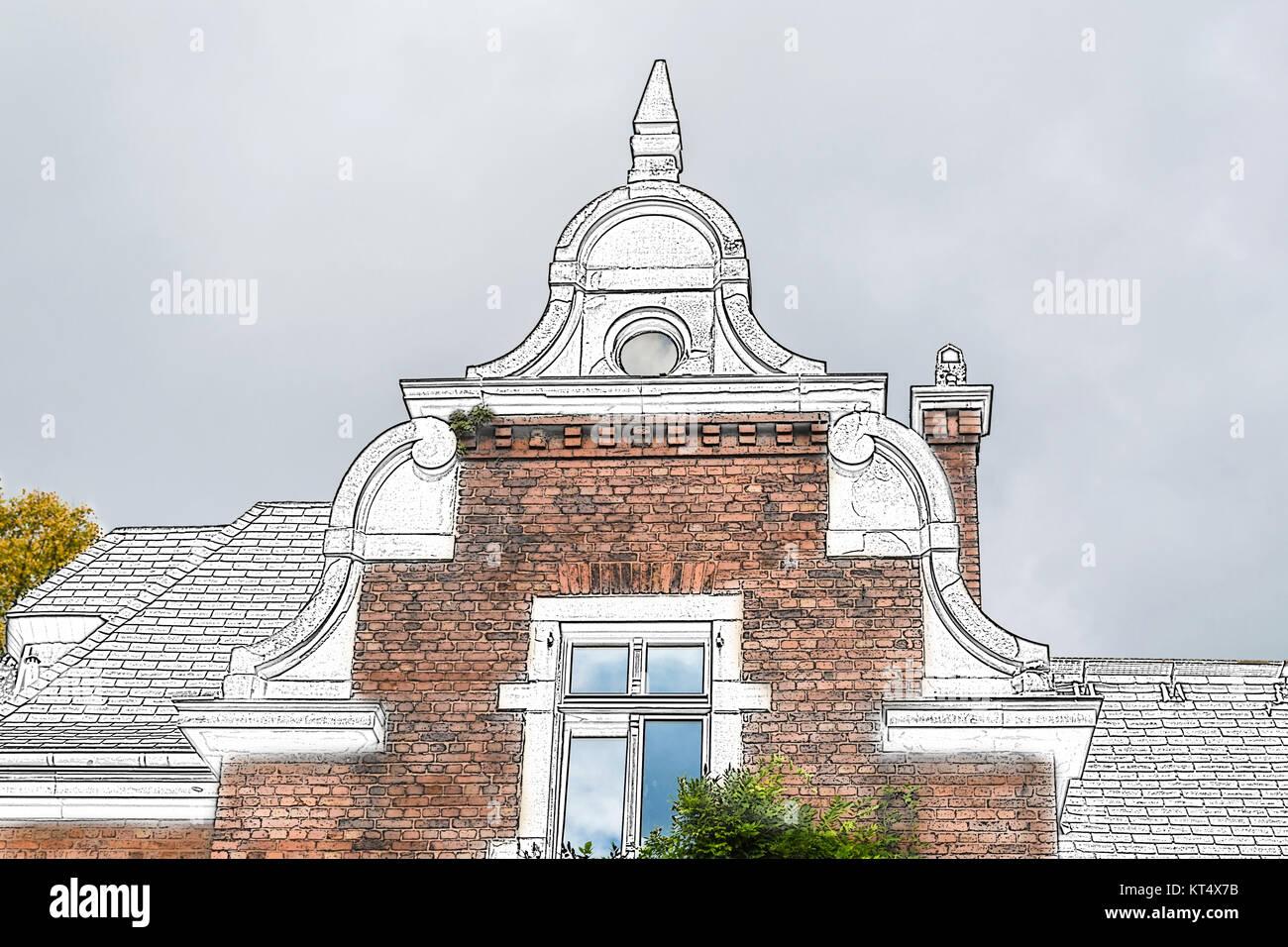 Zeichnung Giebelansicht einer alten Villa aus der Gründerzeit  mit verschiedenen historisierende Stilelementen. - Stock Image