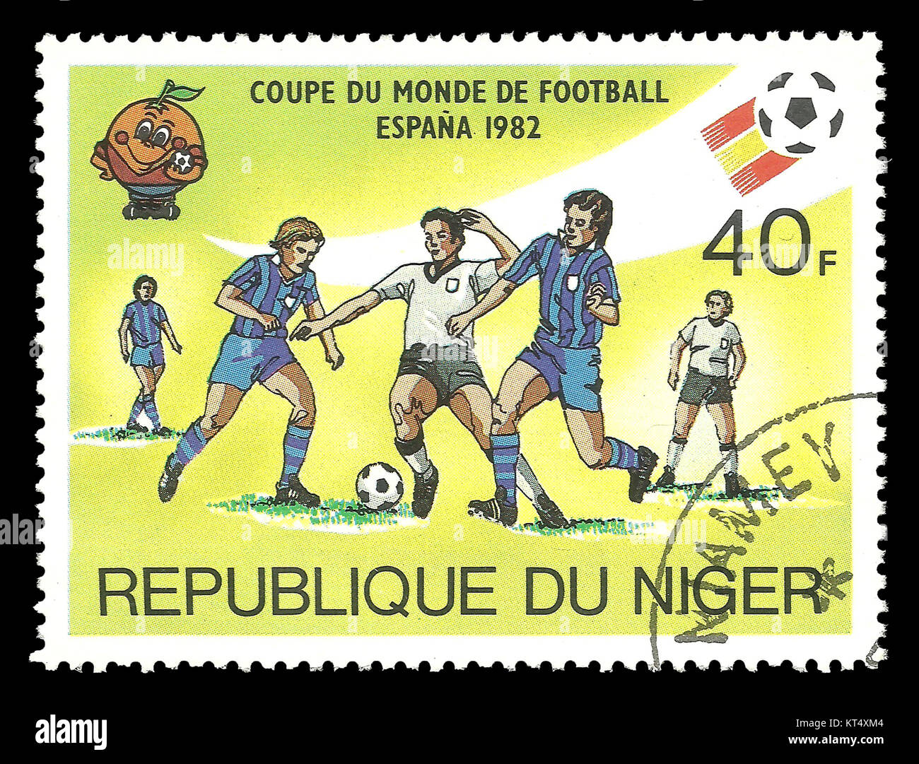Niger - CIRCA 1981: Stamp on topic of Spain World Football Cup 1988, shows soccer players in the game - Stock Image