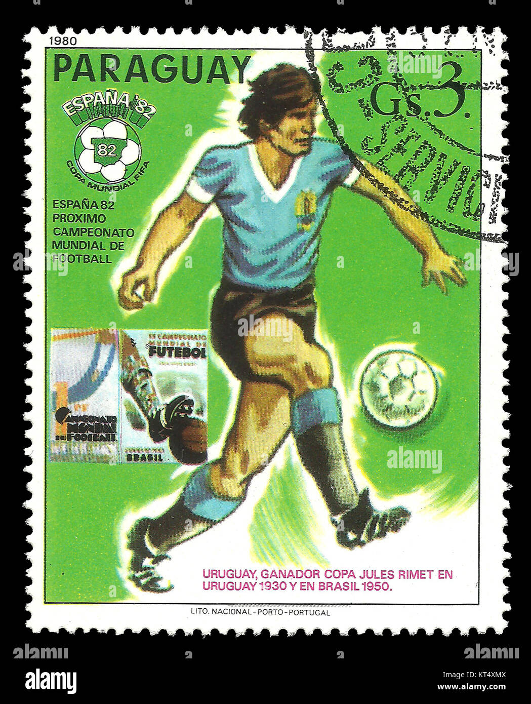 Paraguay - CIRCA 1980: Stamp on topic of Spain World Football Cup 1988, shows football player of the Uruguay team - Stock Image