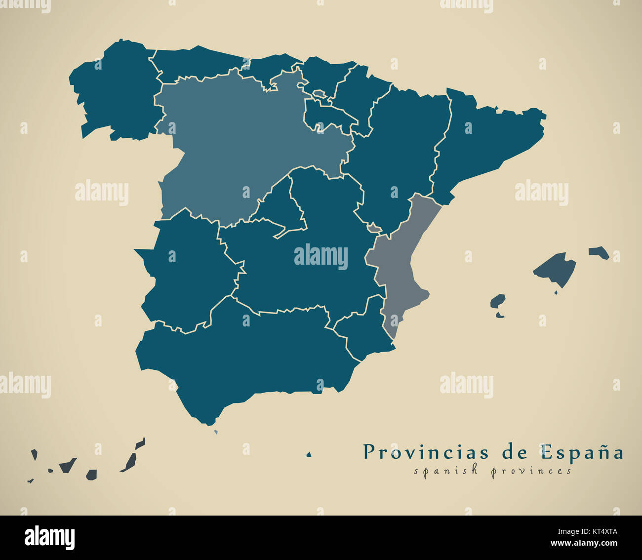 modern map spain with provinces es illustration stock image