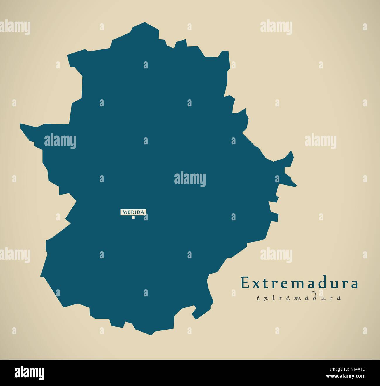 Modern Map Extremadura Spain Es Illustration Stock Photo