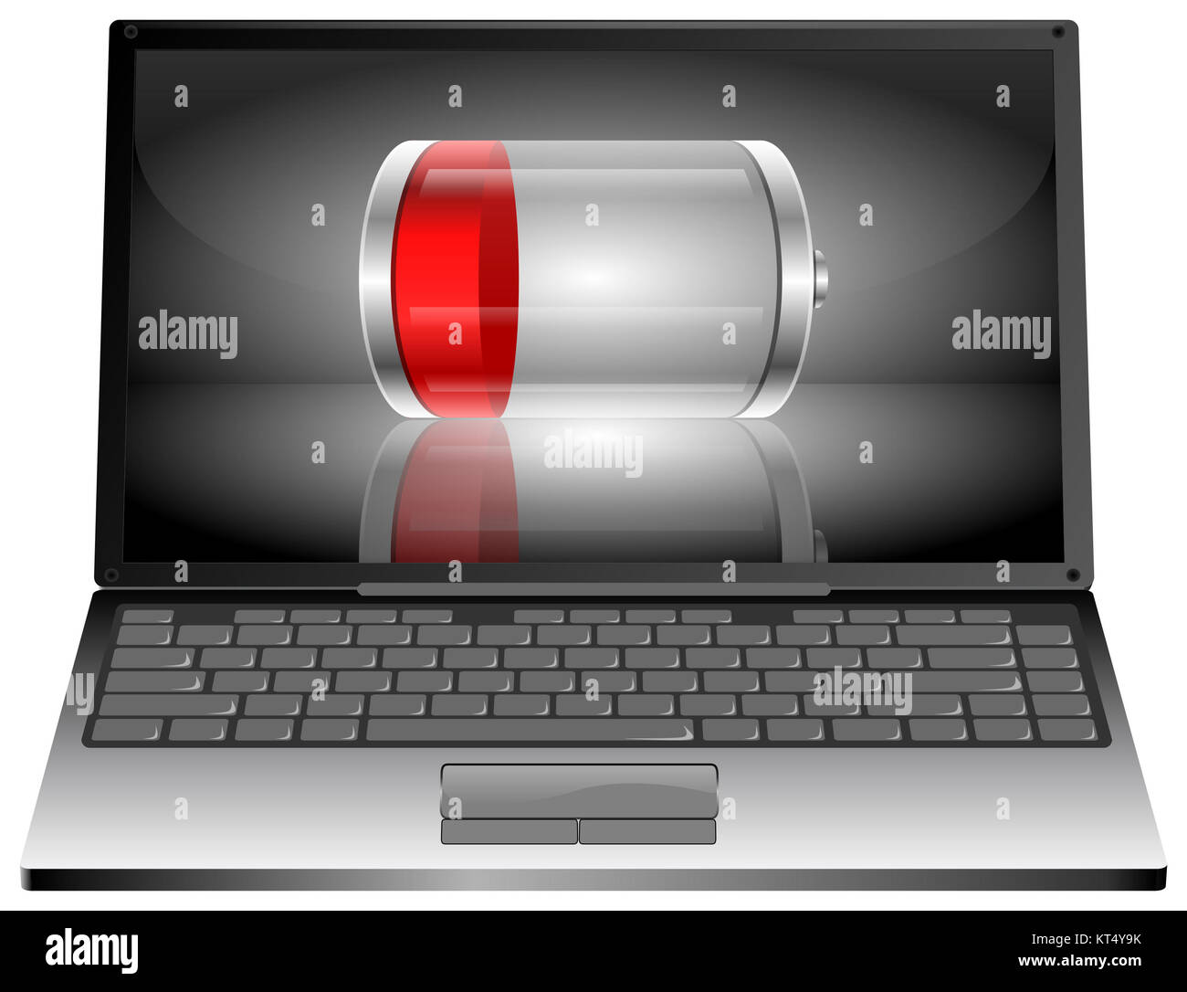 silver Laptop computer with Battery - 3D illustration - Stock Image