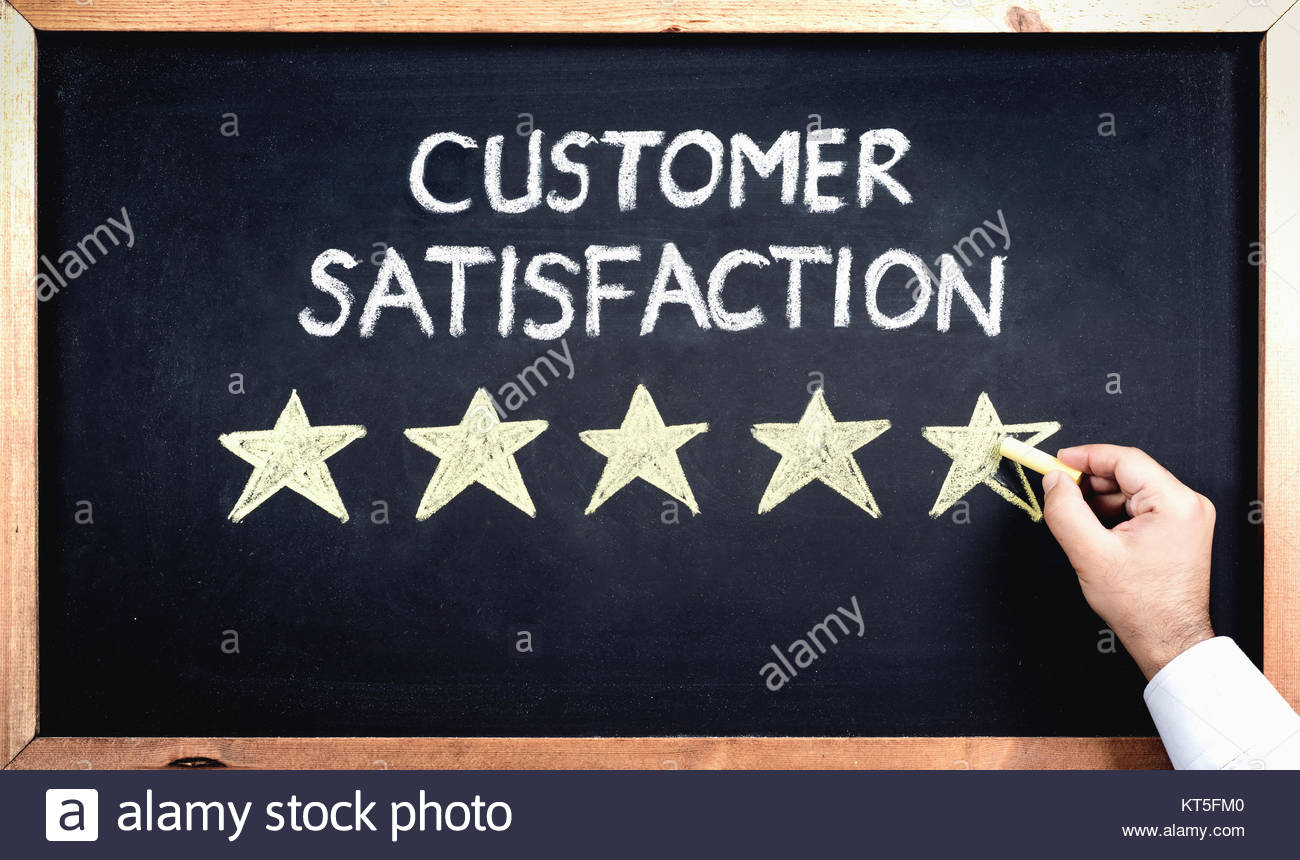 Customer Satisfaction Concept, Man Filling In Rating Stars On Blackboard - Stock Image