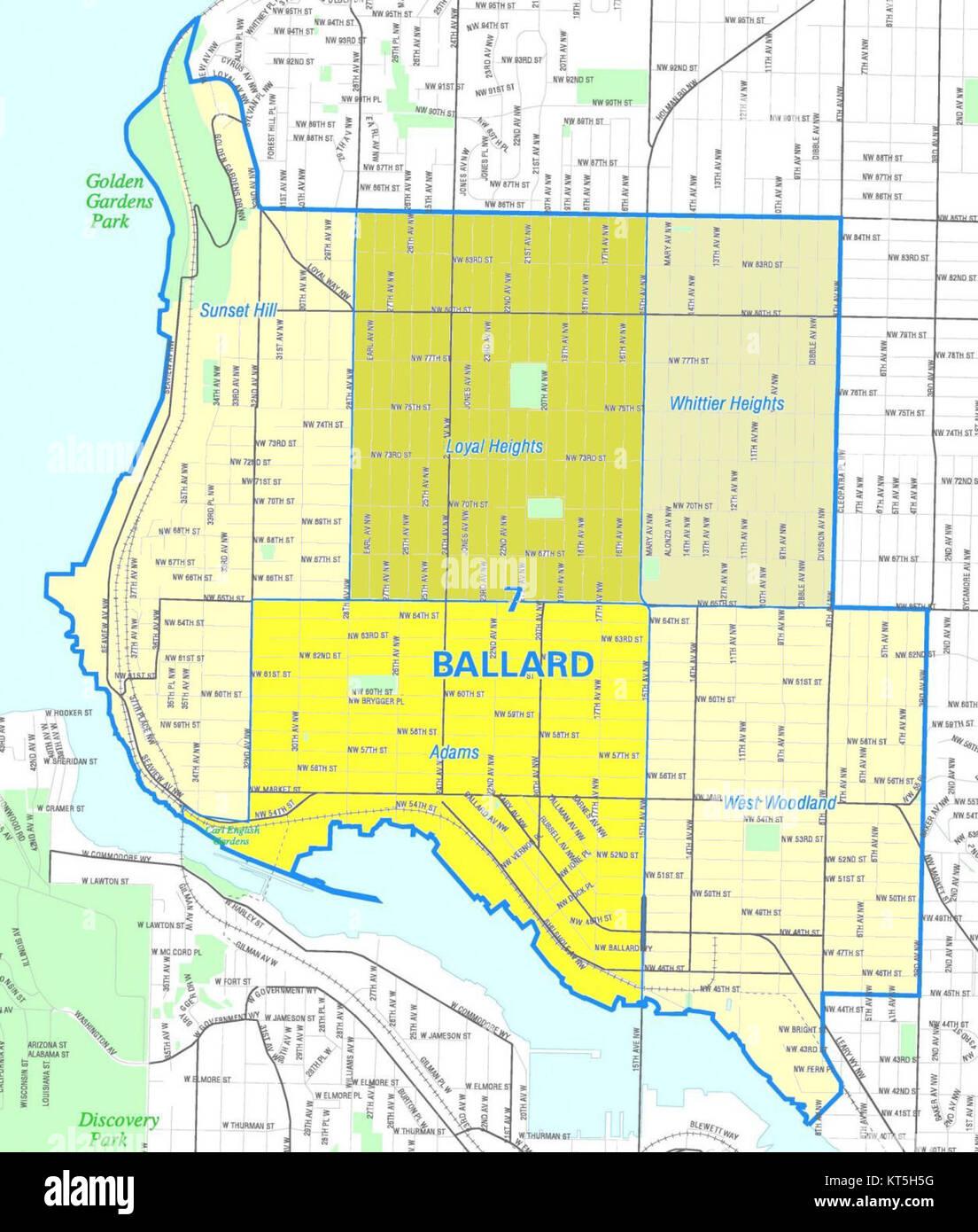 seattle - ballard map stock photo: 169768300 - alamy