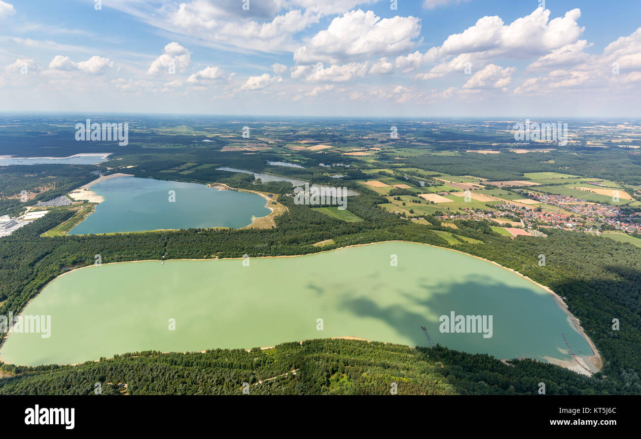 Silver II from the air, bathing, water reflection, sand beach and turquoise waters, aerial view of Haltern am See, - Stock Image
