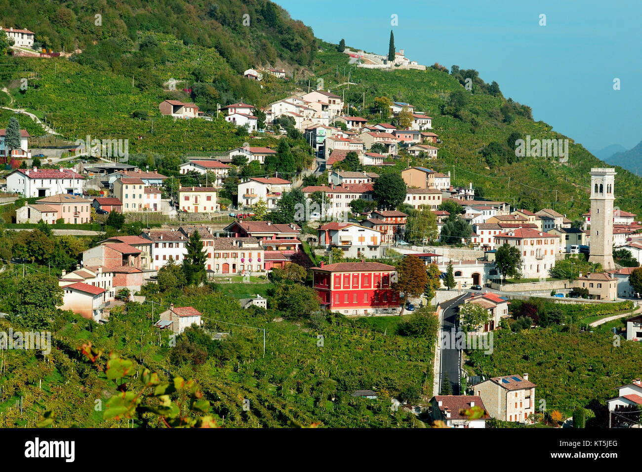 The beautiful hill side town of Valdobbiadene Italy in the Trevisio area. - Stock Image