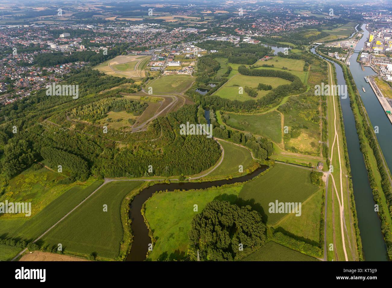 western course of the Lippe and Lippemäander, Hamm, Ruhr area, North Rhine-Westphalia, Germany, Europe, Hamm, - Stock Image