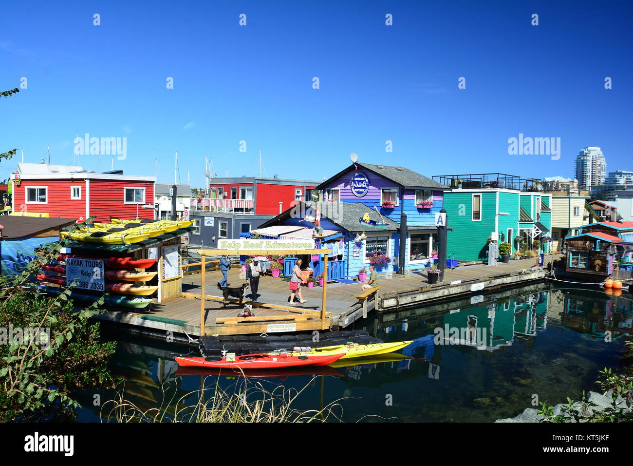 Colorful buildings at Fisherman's Wharf in Victoria BC,Canada. Stock Photo