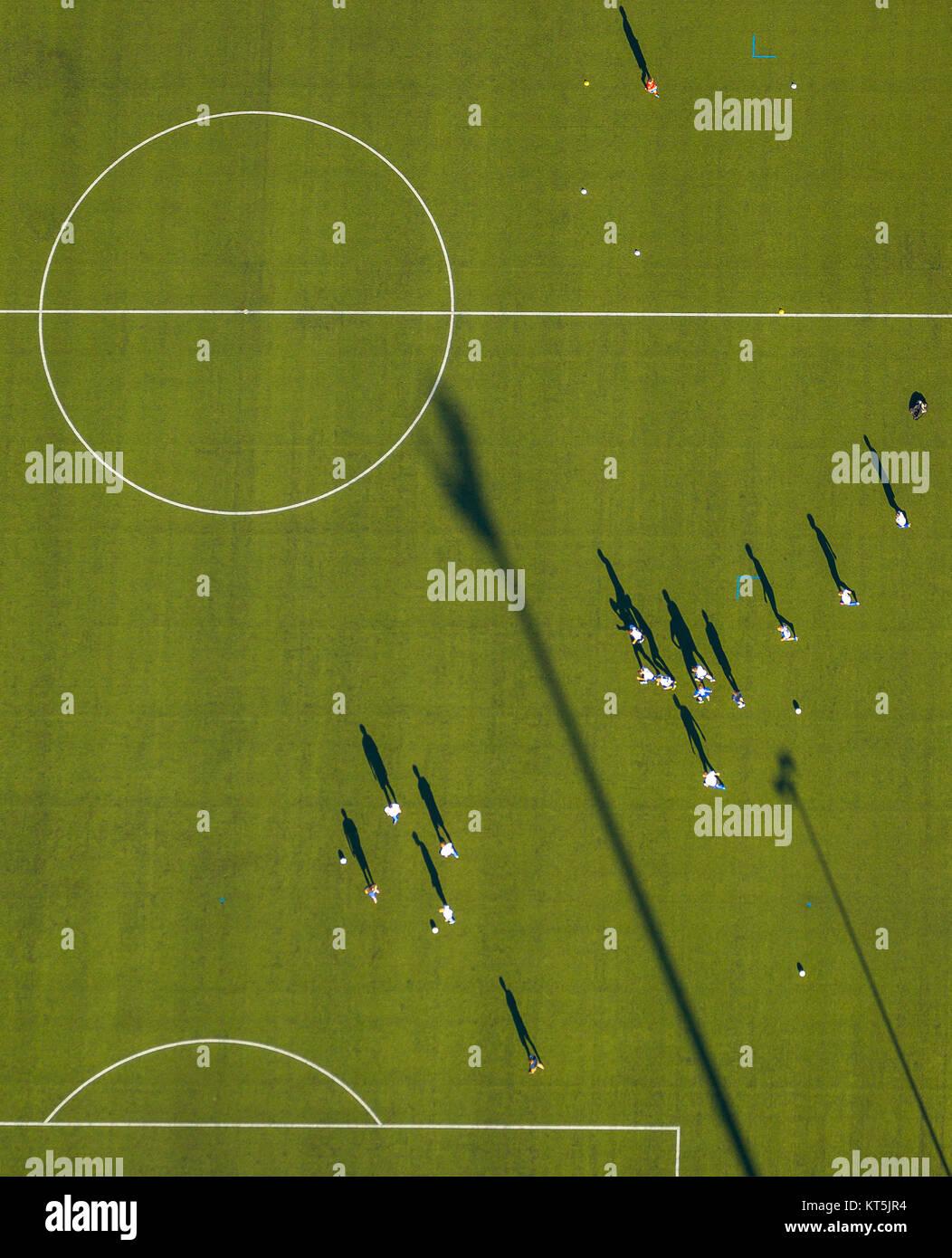 Gustav Hoffmann Stadium, football training green grass field. Center circle, soccer field, Kleve, Niederrhein, North Stock Photo