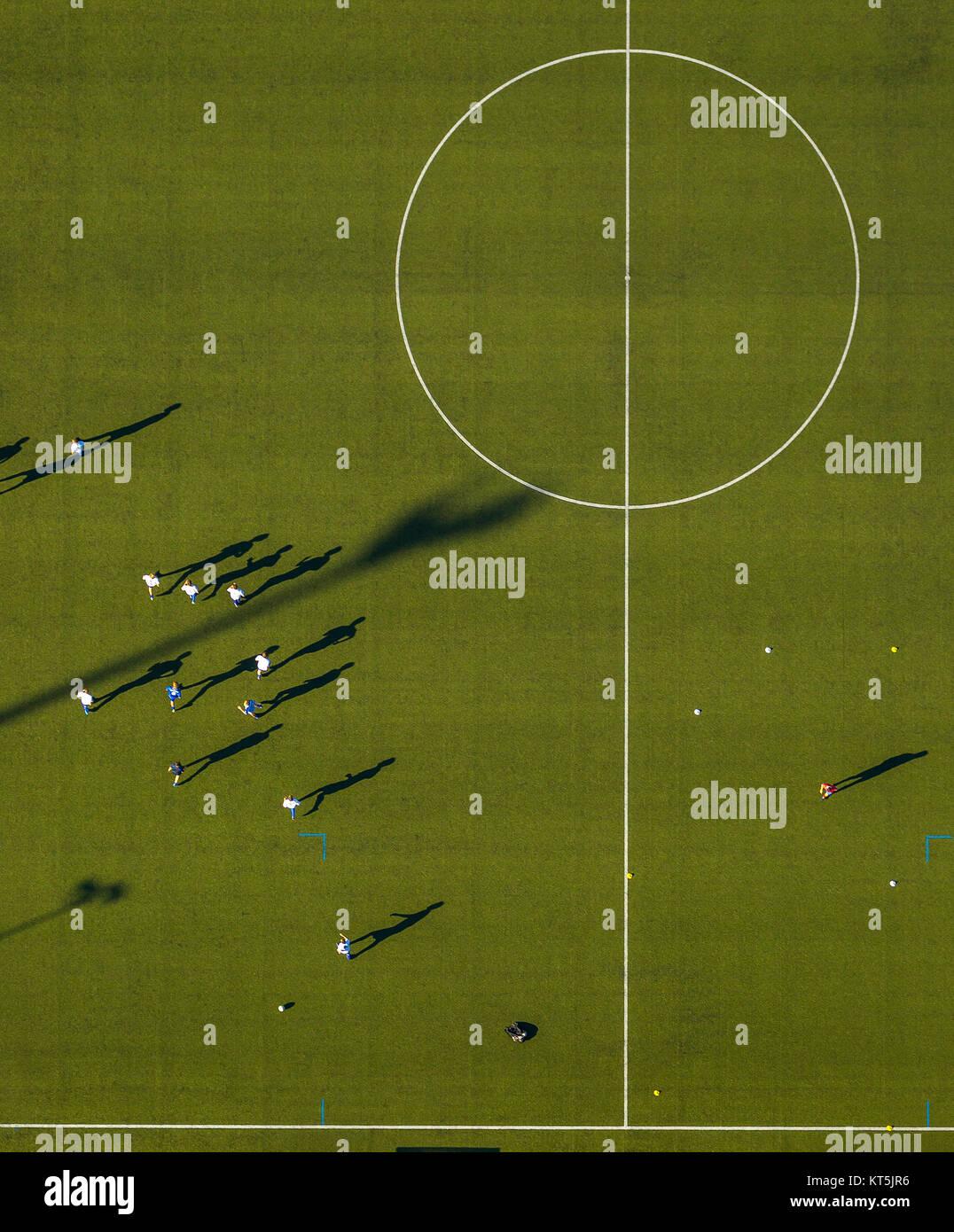 Gustav Hoffmann Stadium, football training green grass field. Center circle, soccer field, Kleve, Niederrhein, North - Stock Image