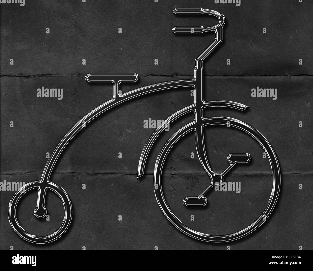 BIKE IT - Abstract metal bicycle on worn black background - Stock Image