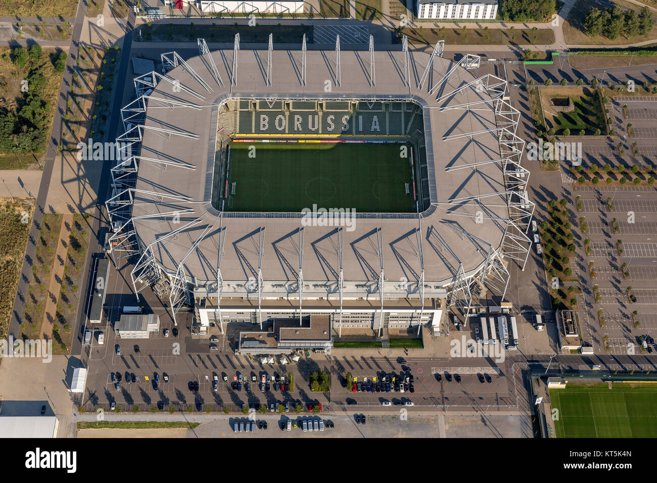 Borussia-Park, the stadium of Borussia Mönchengladbach, Bundesliga football, Moenchengladbach, Lower Rhine, North Stock Photo