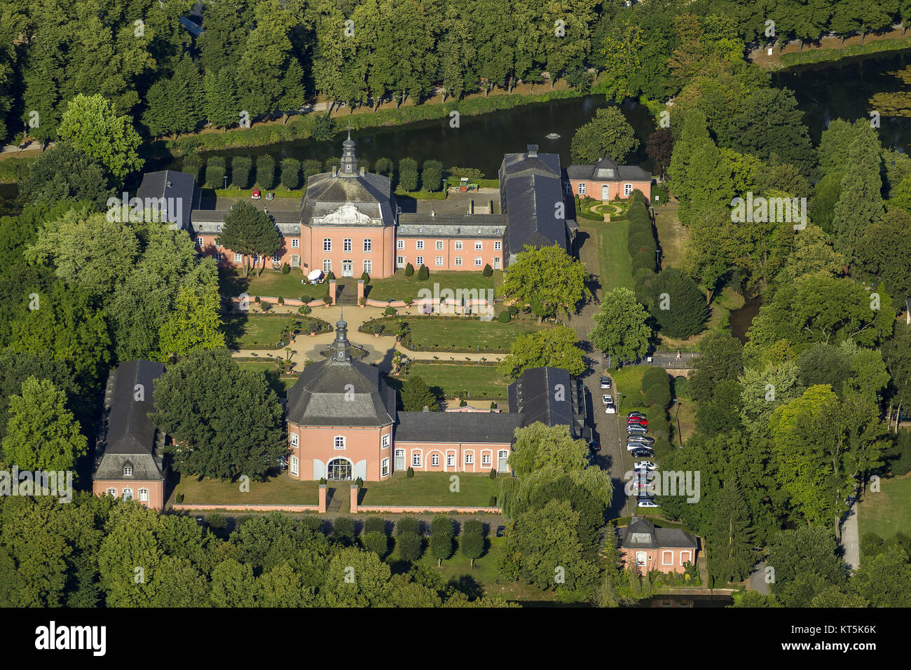 Wickrath Castle, moated castle complex on the Niers, Park, Vorburg, Mönchengladbach, Lower Rhine, North Rhine-Westphalia, Stock Photo