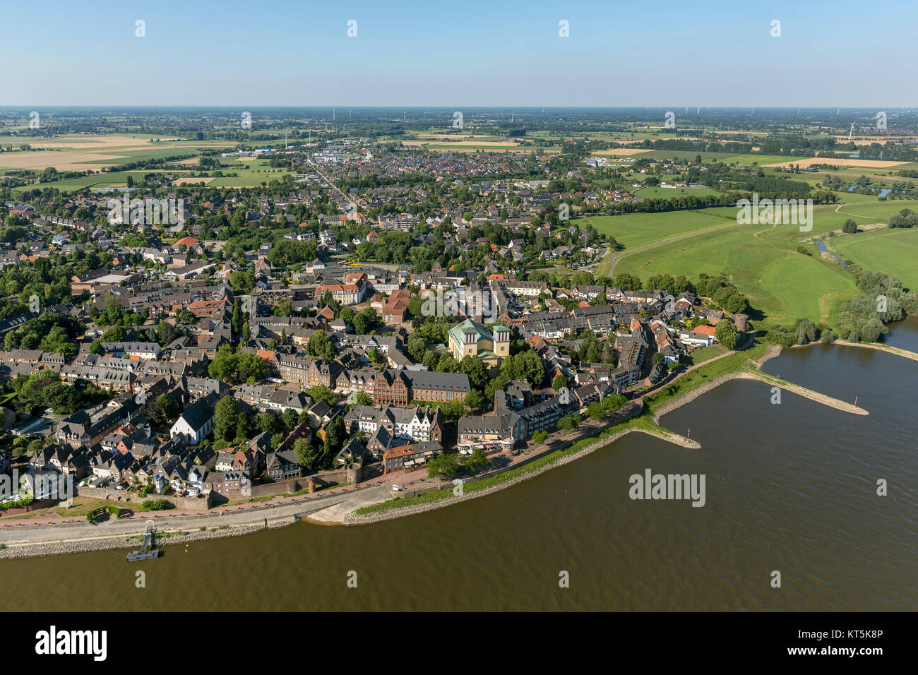 Rees city view from the Rhine, Rhine quay, Kalkar, Lower Rhine, North Rhine-Westphalia, Germany, Europe, Kalkar, - Stock Image
