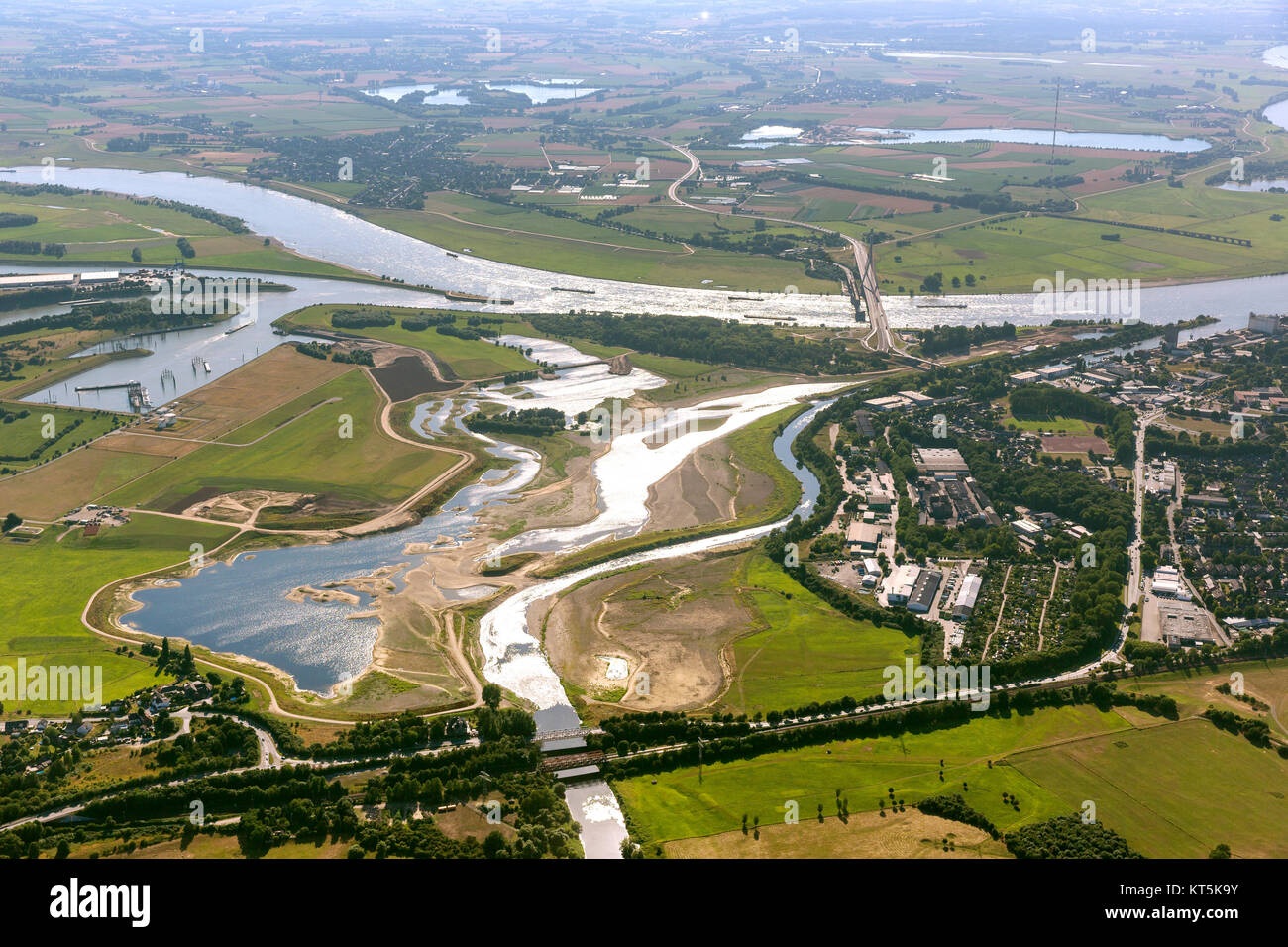 Rebuilding Lippe estuary in the Rhine at Wesel, Lippe meanders, reflection, estuary and influence Wesel-Datteln - Stock Image