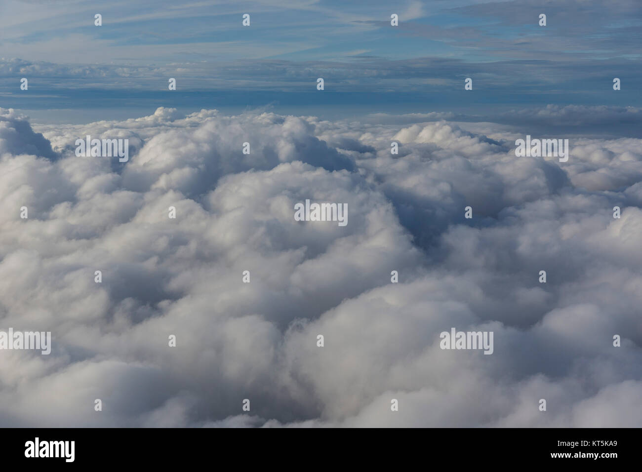 Clouds and sun, cloud flight over the northern NRW, clouds and blue sky, Neuenkirchen, North Rhine-Westphalia, Germany, Stock Photo