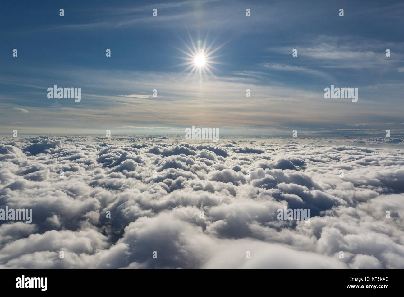 Clouds and sun, clouds flight over the northern NRW, clouds and blue sky, difuse sun on bluen sky, Neuenkirchen, Stock Photo