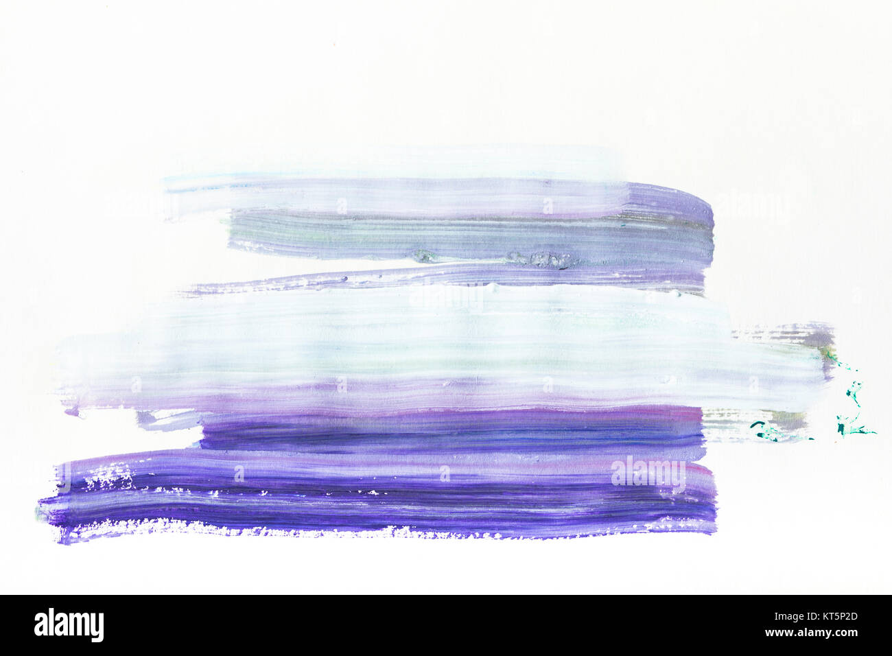 abstract painting with dark and light blue brush strokes on white - Stock Image