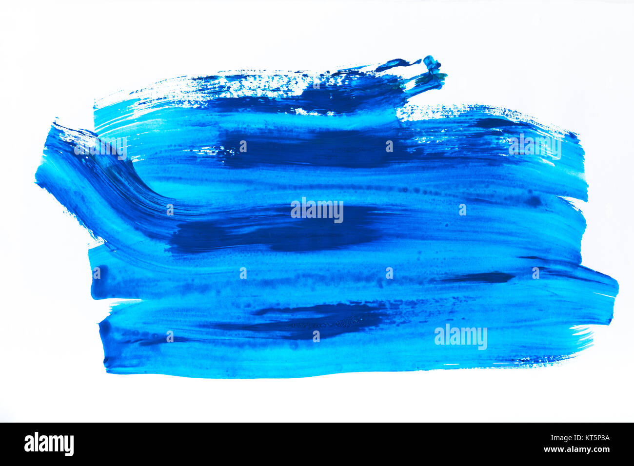 abstract painting with bright blue brush strokes on white   - Stock Image