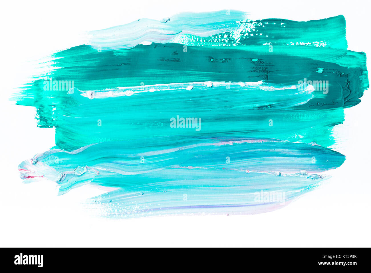 abstract painting with turquoise brush strokes on white - Stock Image