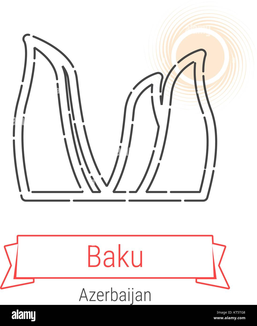 Baku, Azerbaijan Vector Line Icon with Red Ribbon Isolated on White. Baku Landmark - Emblem - Print - Label - Symbol. - Stock Vector