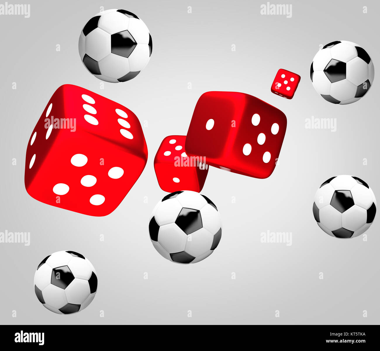 red dices and soccer balls 3d render - Stock Image