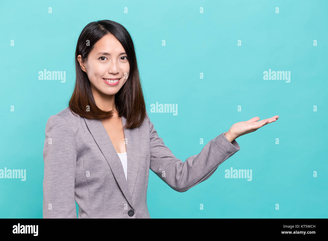 Business woman showing hand Stock Photo