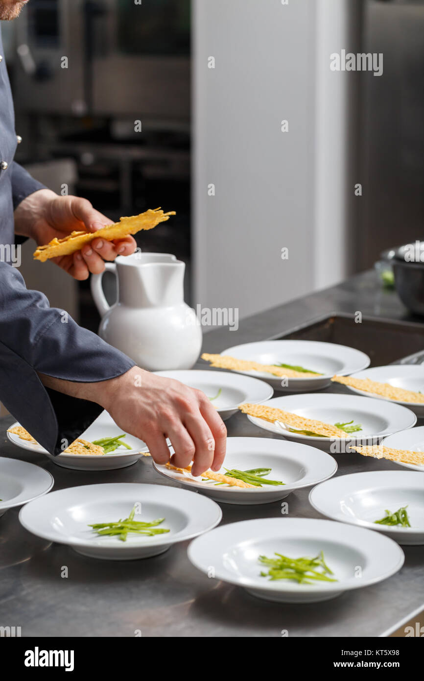 Special touches by chef - Stock Image