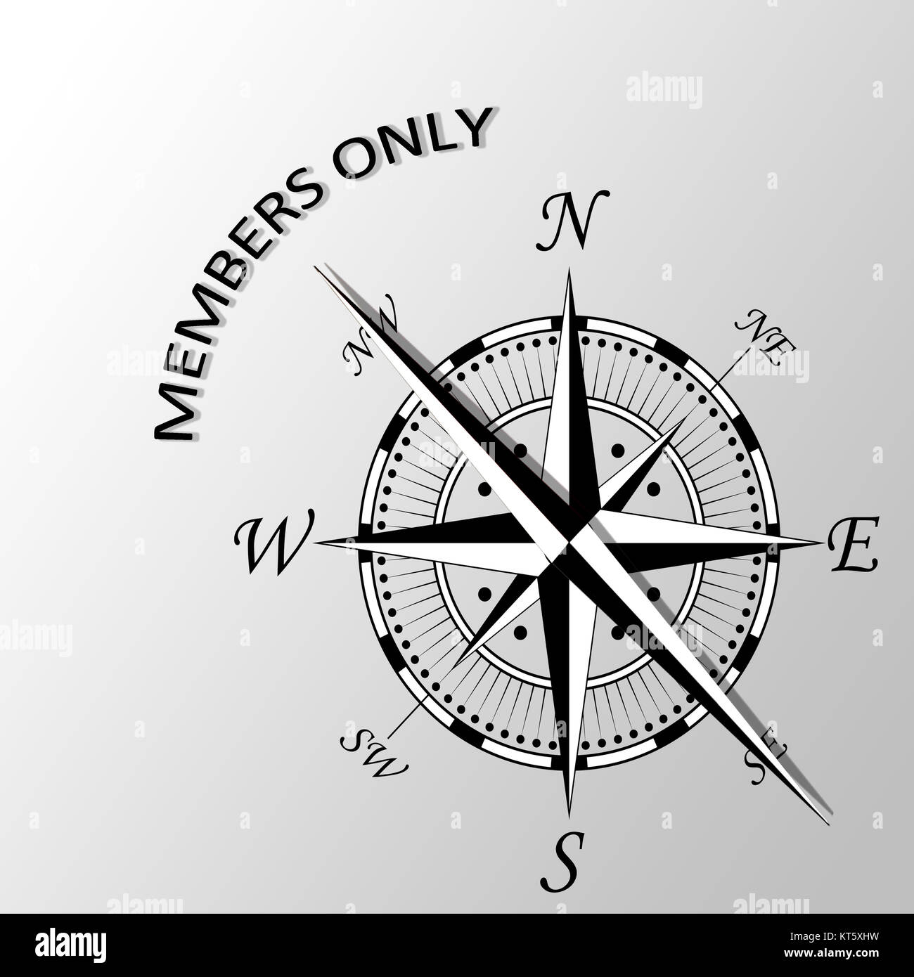 Illustration of Members only written aside compass - Stock Image