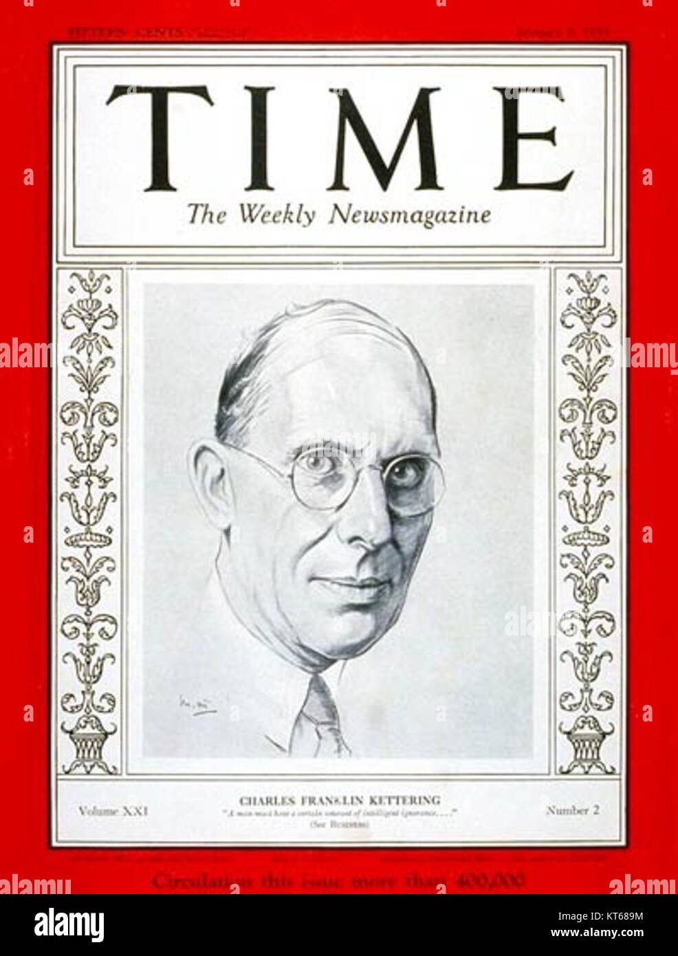 Time-magazine-cover-charles-kettering - Stock Image