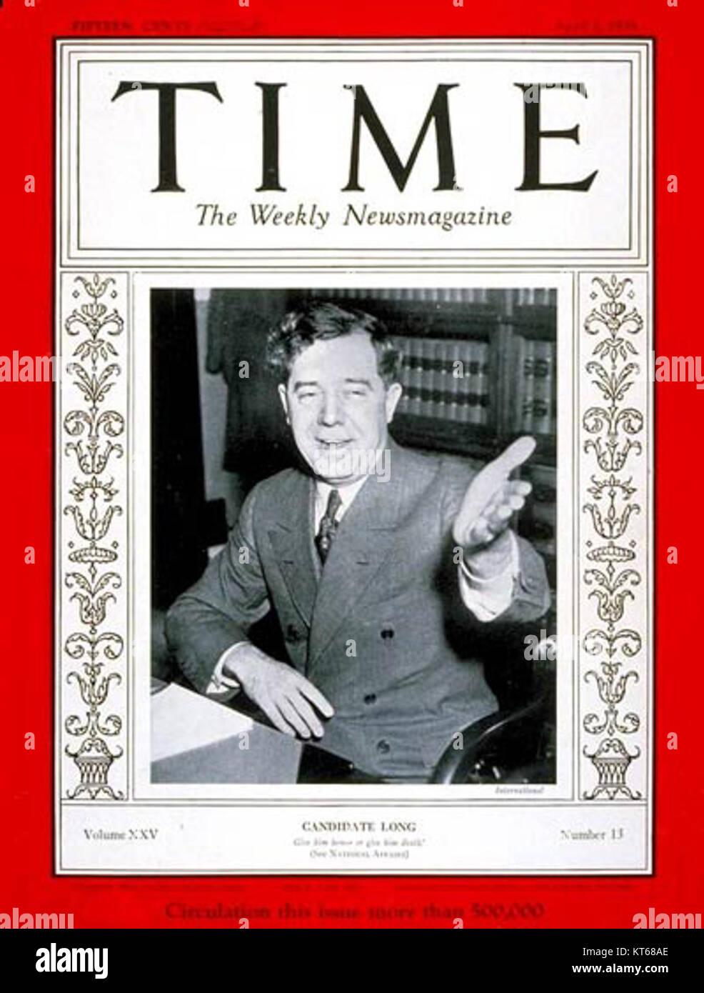 Time Magazine - Huey Long - Stock Image