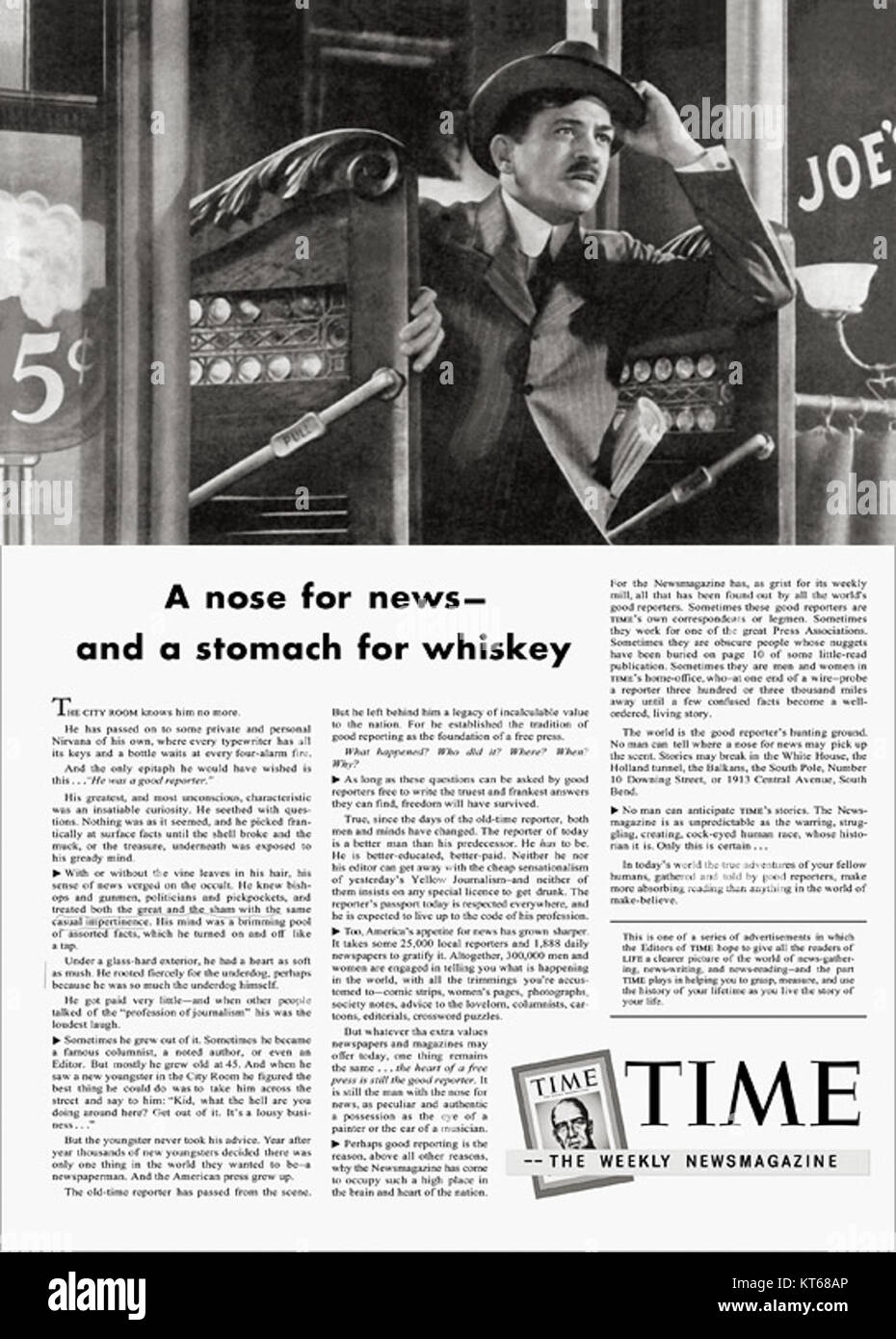 Time Magazine Ad - C3B9nknown - Stock Image