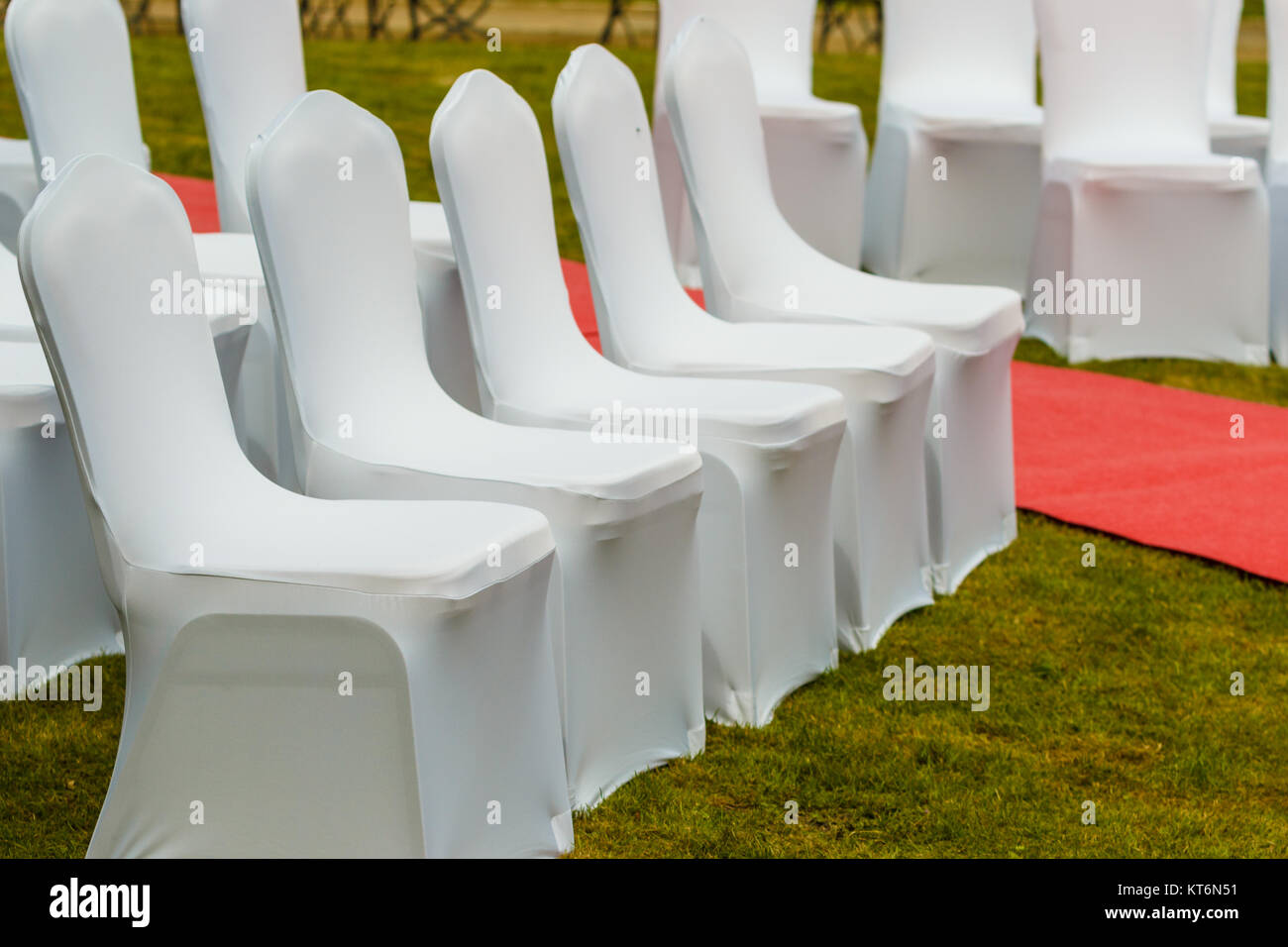 Awe Inspiring Many Wedding Chairs With White Elegant Covers On Green Grass Alphanode Cool Chair Designs And Ideas Alphanodeonline